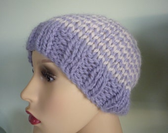 Pale Blue and Cream striped hand knit hat, wool and alpaca