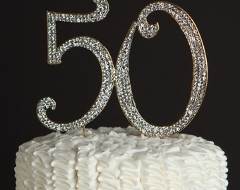 50 Cake Topper for 50th Birthday or Golden Anniversary - Gold Rhinestone Metal Number - Party Supplies and Decoration Ideas