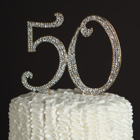 50 Cake Topper for 50th Birthday or Golden Anniversary - Gold ...