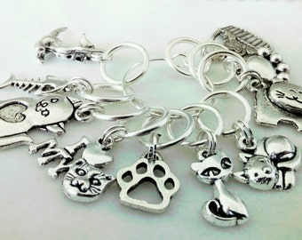 Crazy Cat Lady Stitch Markers - kitty cat stitch markers - feline crochet markers