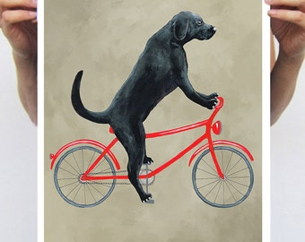 Labrador painting, print from original painting by Coco de Paris: Labrador on bicycle
