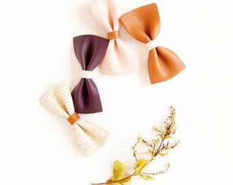 Baby Leather Hair Bow Crocodile Clip/Nylon Headband Plum Pink & Cream Baby Bow Adult Bow, Little Girl Bow, Newborn Bows, Soft Nylon Bow