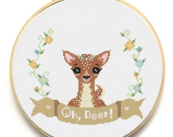 PATTERN Modern Cross Stitch Pattern - Oh, Deer! - Instant Download - Woodland Creature - Doe Buck Fawn - Counted Cross Stitch Chart -