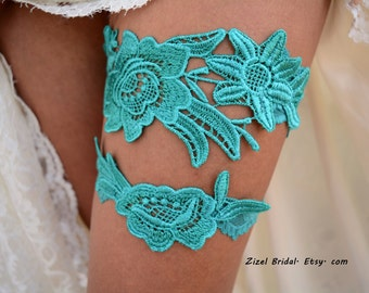 Teal Green Garter, Wedding Garter, Teal Wedding Garter, Wedding Garter Set, Green Garter, Wedding Garter Teal, Teal Garters, Lace Garters