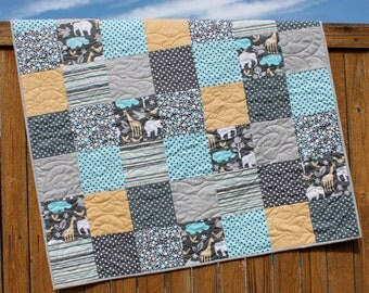 Baby Boy Quilt, Blue Gray Quilt, Zoology Baby Quilt, Animal Bedding, Polka Dot Bedding, Handmade, Baby Blanket, Baby Quilt, Elephant Quilt