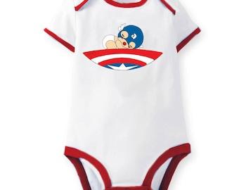 Marvel Avengers Sleeping Baby Captain America Onesie Bodysuit Romper