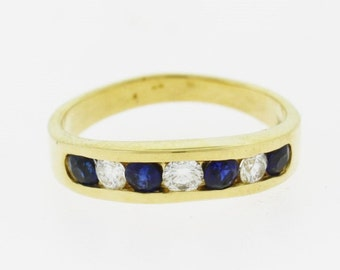 Sapphire Diamond Band, 14k Yellow Gold Wedding Band, Diamond Sapphire Wedding Band