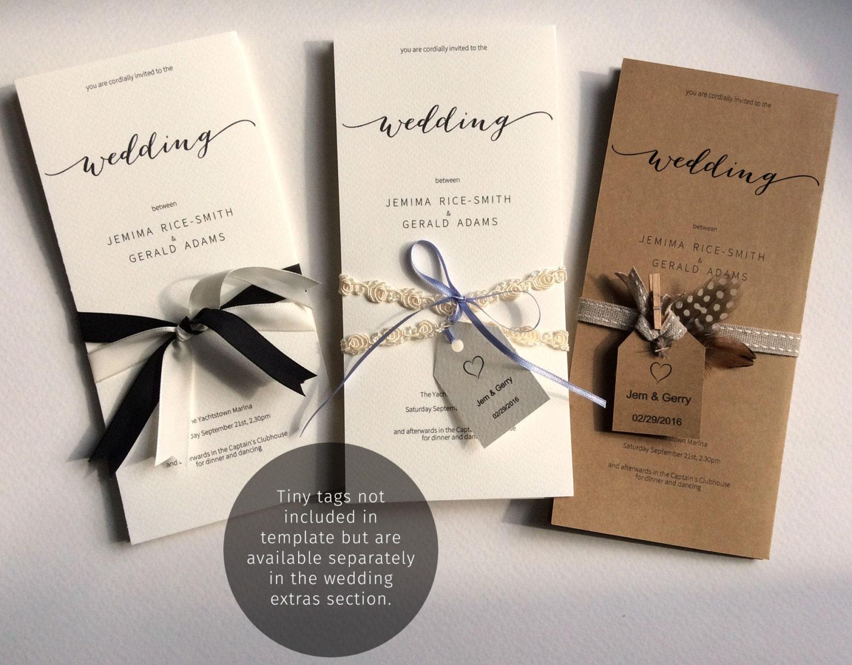 Printable Wedding Invitation Single Sheet Template. A Foldable