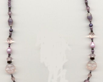 Pink and Black Agate Necklace NECKL310