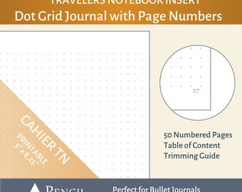Cahier / Wide Dot Grid Bullet Journal Insert with Page Numbers -  Travelers Notebook Printable