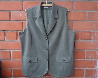 Grey Khaki Vest Extra Large Womens Vest 2X Large Waistcoat Long Everyday Vest Womens Waistcoat