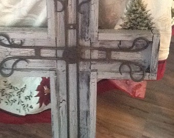 Wooden Cross with Metal