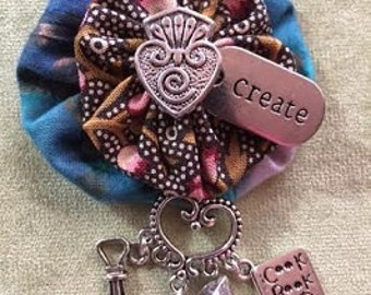 One of a Kind Promise Cottage Yoyo Brooch for the Cook