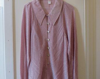 Vintage 70s Glam Pink Glitter Shimmery Blouse