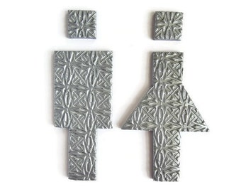 Modern Bathroom Signs, Silver Modern Restroom Signs for Home and Office, Toilet Sign Male Female