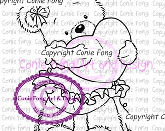 Digital Stamp, Digi Stamp, Digistamp, Bella by Conie Fong, Coloring Page, Teddy Bear, Love, Valentines, Heart, scrapbooking
