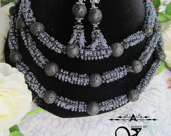 """Necklace with earrings of beads and stones """"Moonlit Night"""""""