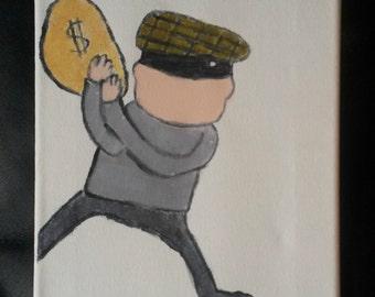 Cute Robber Canvas Handpainted