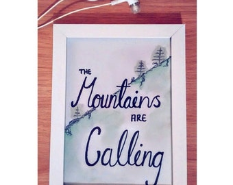 Watercolour, The Mountains are Calling, Framed A5