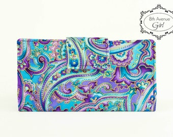 Fabric checkbook cover, Bifold wallet, Coupon holder, Organizer, Purple and turquoise paisley fabric