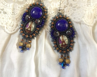embroidered earrings Paris