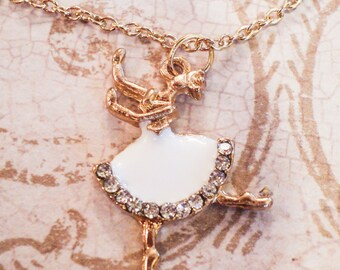 Enamel Ballerina Charm Necklace