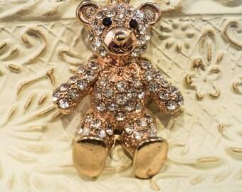 Crystal Teddy Bear Charm Necklace