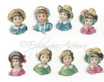 20 TIny Victorian Die cut Scraps: Children