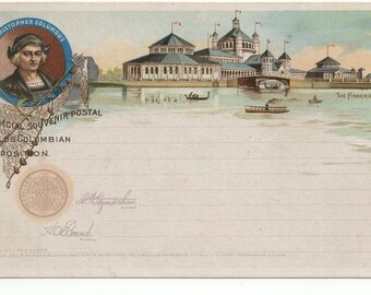 1893 Worlds Columbian Exposition Goldsmith Postcard: Columbus Fisheries Building