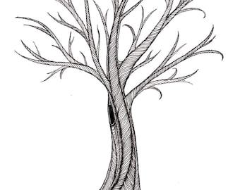 Tree Illustration print / black and white line work / tree #3