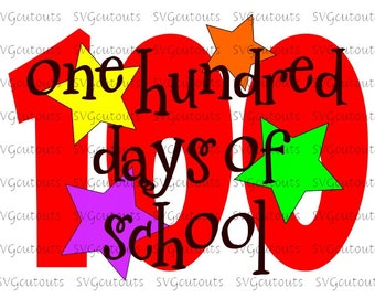 100 Days Of School Design, SVG, Eps, Dxf Formats, Files For Your Cutting Machines,  Silhouette, Cricut, Scan N Cut, INSTANT DOWNLOAD