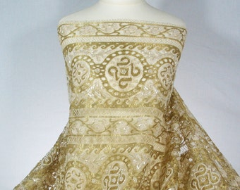 French Solstiss Empire Couture lace-Metallic gold-Ivory Cream-Dentelle de Callais-Glass Pearls-Frosted glass beads-Hand embroidered-No 58