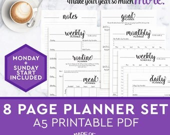 A5 Printable Planner Inserts 8 pages - daily planner, weekly, monthly, to do list
