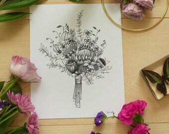 Flower Ink Drawing, Flower Bouquet Art Print #1 - 8x10