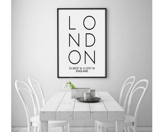London Printable Art, London England Coordinates, Scandinavian Print, Affiche Scandinave, London Sign Poster, Office Wall Art Decor