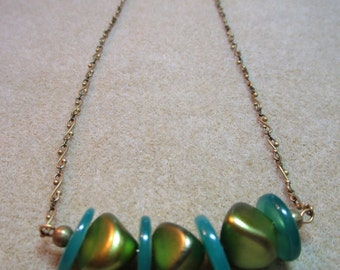 Vintage and Glass Disc Beaded Necklace