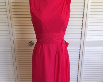 1960s hot pink silk wiggle dress with brooch