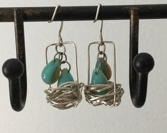 Whimsical bird nest earrings sterling silver