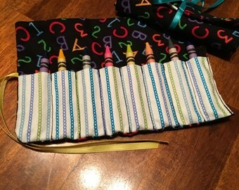 ABC 123 Crayon Roll, Crayon Wallet, Crayon Roll