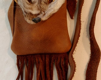 Leather Possibles Bag with Fox Face