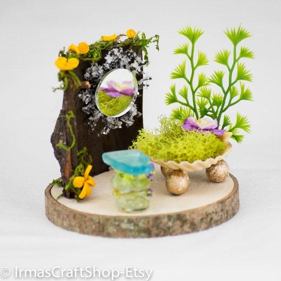 Fairy garden bedroom fairy bedroom set fairy furniture fits for Fairy garden bedroom ideas