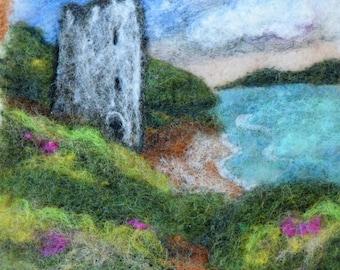 Tower Ruin at Lochs Edge  wet felting