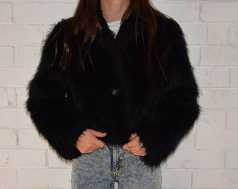 90's Fluffy faux fur jacket