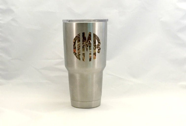 Custom Camo Yeti Decal Camo Vinyl Decal Camo Monogram Decal - Custom vinyl stickers for cups