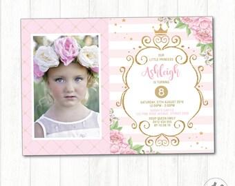 PRINCESS Birthday Invitation. Pink and Gold Party Invite. Royal Celebration. Gold Crown. Floral Birthday Photo Invite. Princess Theme. PG1
