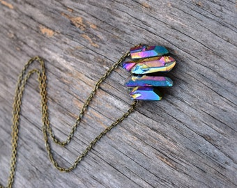 Vertical Raw Crystal Necklace, Rainbow Titanium Quartz Statemement Necklace, Rainbow Druzy Raw Crystal Jewelry, Unique Aura Stone Necklace