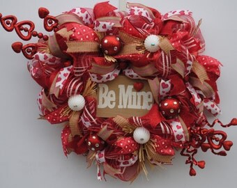 Country Valentines Day Wreath, Valentines Day Deco Mesh Wreath, Rustic Valentines Wreath, Heart Valentines Day Wreath, Valentines Wreath