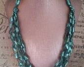 Emerald Green Hypoallergenic Crocheted Ladder/Ribbon Yarn Multi Strand Necklace