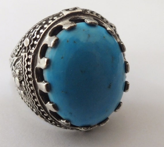 wow handmade 925 sterling silver ring blue turquoise