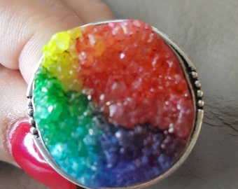 Rainbow Druzy Ring- size 10.25!